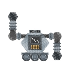 Drawing robot futuristic analytics screen wheel vector