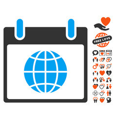 globe calendar day icon with valentine bonus vector image vector image