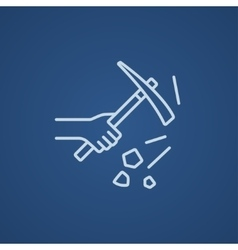 Hand using pickax line icon vector image