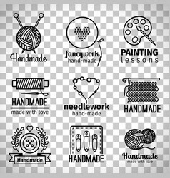 handmade workshop thin line logo set vector image