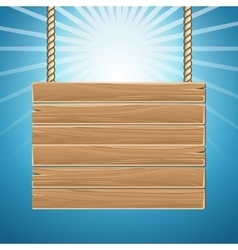 Hanging wooden blank sign board blue sky vector