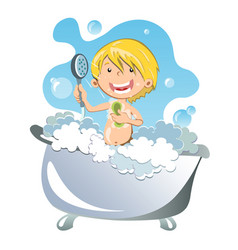 Happy kid having bath vector