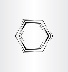 hexagon frame stylized background black vector image
