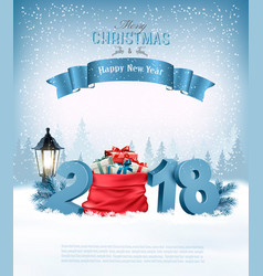 holiday christmas background with a red sack full vector image vector image