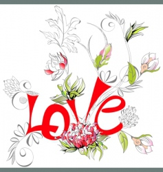 inscription love with peony flower vector image