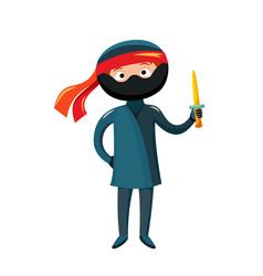 Kid ninja costume festival superhero character vector