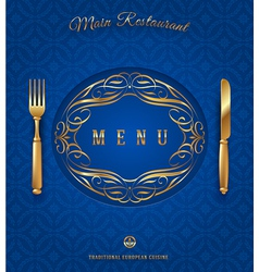 Menu with golden cutlery and ornate elements vector image