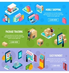 Mobile shopping isometric horizontal banners vector
