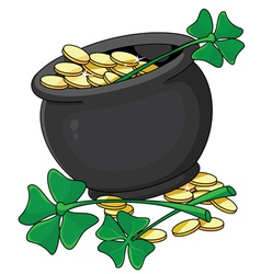 pot and clover vector image vector image