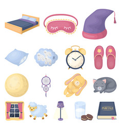 rest and sleep cartoon icons in set collection for vector image vector image