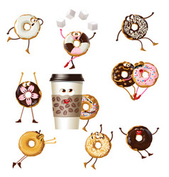 set icons cartoon characters donuts vector image vector image