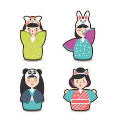 set japanese woman with costume hat design vector image