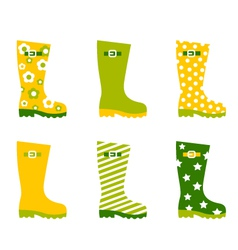 Spring wellington rain boots vector image