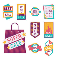Super sale extra bonus banners text in color drawn vector