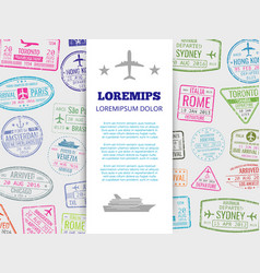 travel banner with grunge passport stamps vector image vector image