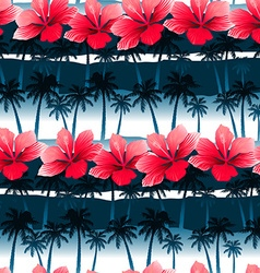 Tropical hibiscus flowers in a seamless pattern vector
