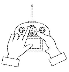User hand with drone remote control vector