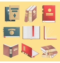 Books icons set isolated vector