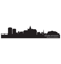 Saskatoon canada skyline detailed silhouette vector
