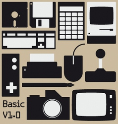 Retro computing collection vector