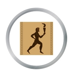 Athlete with olympic fire icon in cartoon style vector