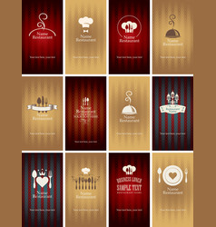 Set of business cards on theme of food and drink vector