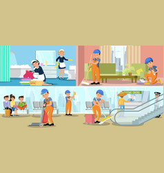 Cleaning company service horizontal banners vector