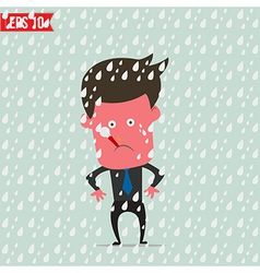 Cartoon business man use thermometer measure vector