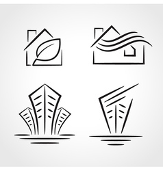 Building development symbol emblem set vector