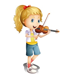 A girl playing with her violin vector image