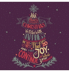 Christmas tree hand-lettering vector