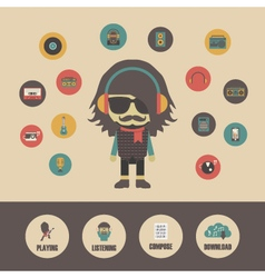 388listening music infographicvs vector