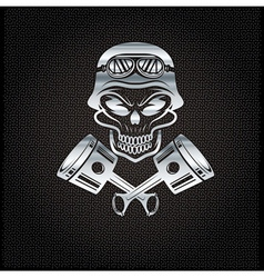 Silver biker theme design template with pistons vector