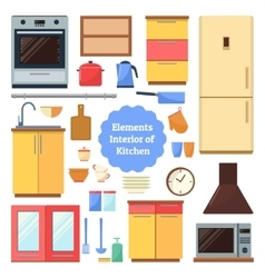 Elements of the interior kitchen vector