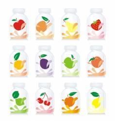 Fruit yogurt glass bottles vector