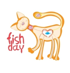 Cute cat who loves to eat fish vector