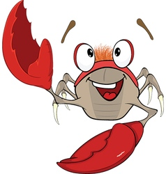 Cute red crab cartoon vector