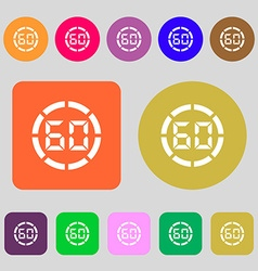 60 second stopwatch icon sign 12 colored buttons vector
