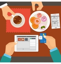 Mobile payment in restaurant using tablet vector