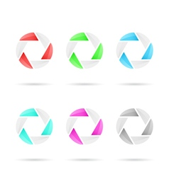 Six segmented colored glassy circles vector