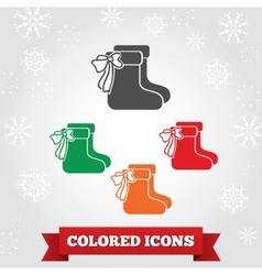 Christmas icons set socks with bow silhouettes vector