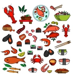 Seafood fish and delicatessen icons vector