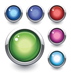 glossy button vector image