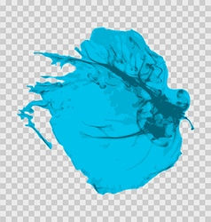Cyan brush paint stroke with rough edges isolated vector