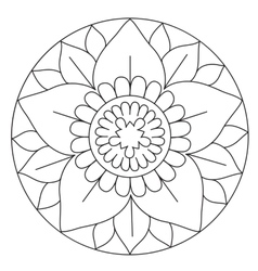 Coloring lovely flower mandala vector