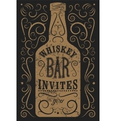 Typography retro grunge design whiskey bar poster vector