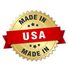 Made in usa gold badge with red ribbon vector