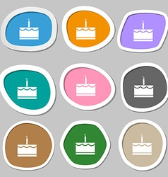 Birthday cake icon symbols multicolored paper vector