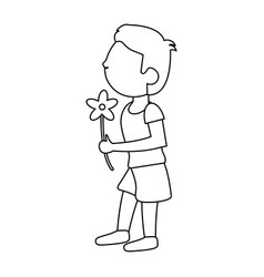 Boy with flowers bouquet present outline vector