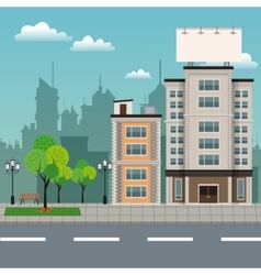 Buildings tree brench park urban streetscape vector